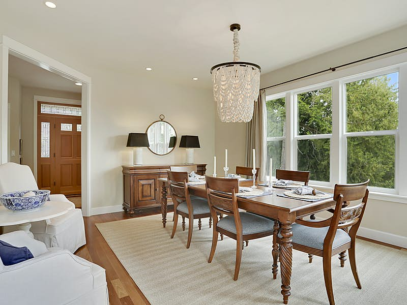 Formal dining room has plenty of space for large groups or intimate gatherings.