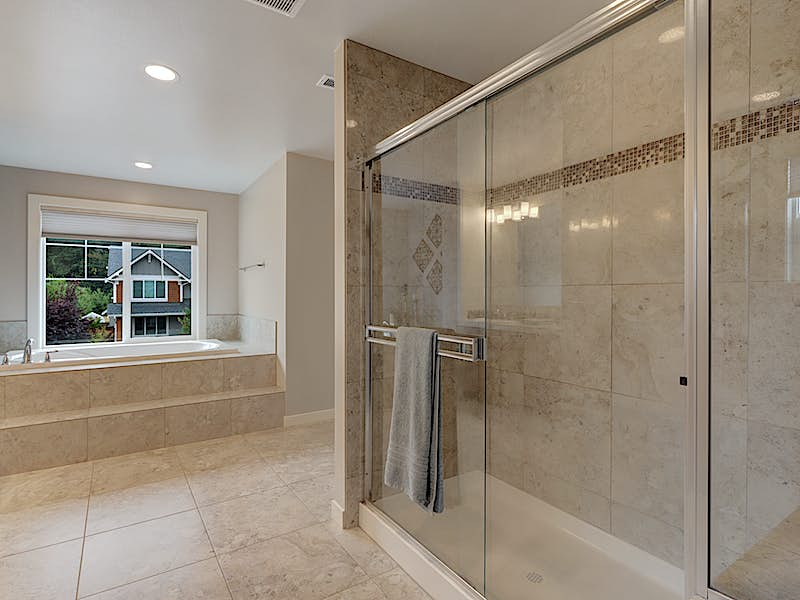 Shower complete with custom tile bench
