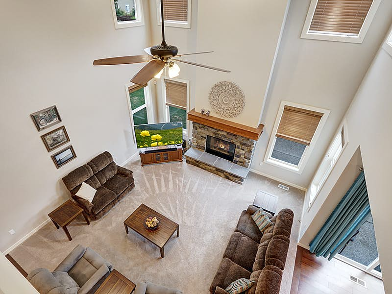 View of 2 story family room from upstairs